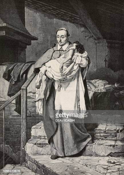 Saint Charles Borromeo Italian cardinal taking a child away from his mother who died of the plague engraving by G Sabattini from a painting by...