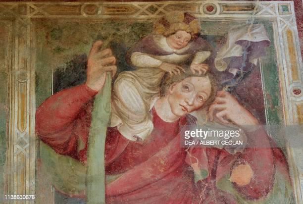 Saint Christopher, fresco in Saint Valentine Church, between Klausen and Villanders, Eisack Valley, Trentino-Alto Adige, Italy.