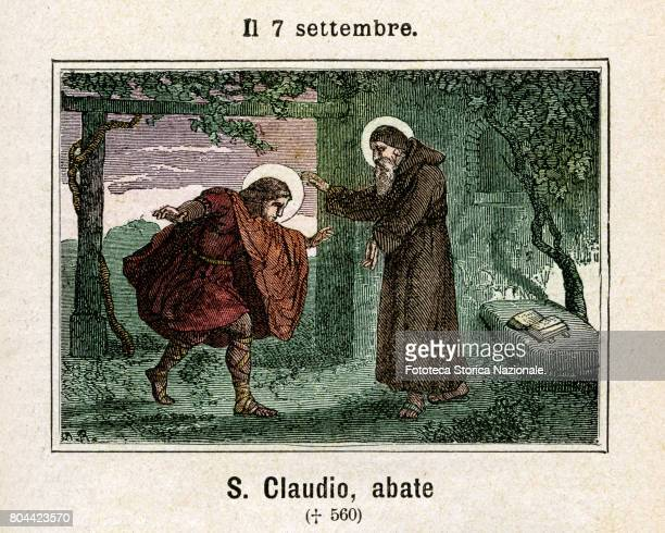 Saint Claudio abbot . Colored engraving from Diodore Rahoult, Italy 1886.
