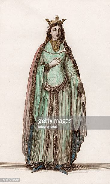 Saint Clotilde second wife of the Frankish king Clovis I Coloured engraving