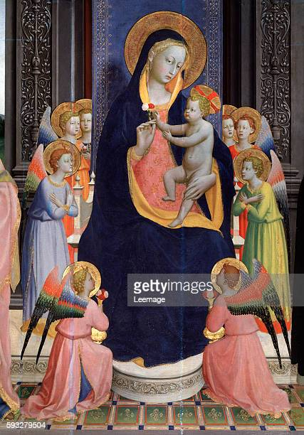 Saint Dominic altarpiece : Virgin and Child enthroned with Eight angels by Fra Angelico - San Domenico, Fiesole, Italy