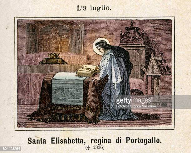 Saint Elisabeth, Queen of Portugal . Colored engraving from Diodore Rahoult, Italy 1886.