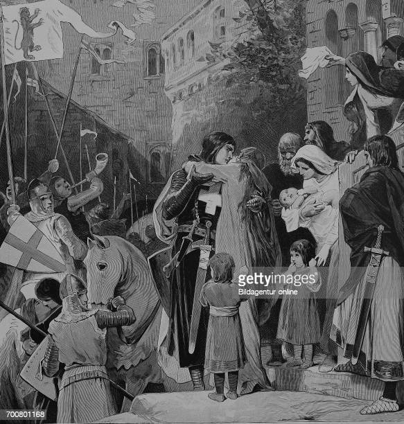 Saint Elizabeth of Hungary, Heilige Elisabeth von Thueringen, also known as Saint Elizabeth of Thuringia, says goodbye to her husband, who sets out...