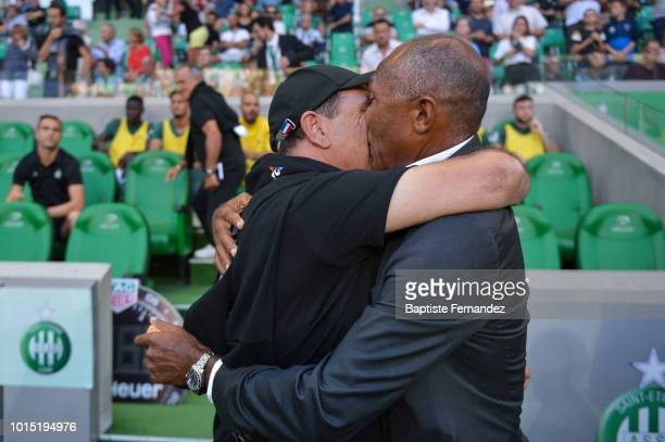 Saint Etienne head coach Jean Louis Gasset and Guingamp head coach Antoine Kombouare during the French Ligue 1 match between AS Saint Etienne and EA...
