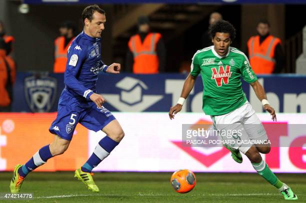 Saint Etienne's Brazilian forward Brandao vies for the ball with Bastia's French defender Sebastien Squillaci during the French L1 football match...
