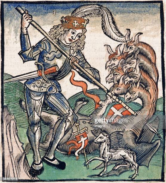 Saint fighting against a sevenheaded dragon Coloured xylograph by Sebastian Brant In Methodius Revelationes Furter Basel 1515 [Heiliger im Kampf...
