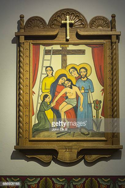 saint francis cathedral in santa fe, painting - stations of the cross stock pictures, royalty-free photos & images