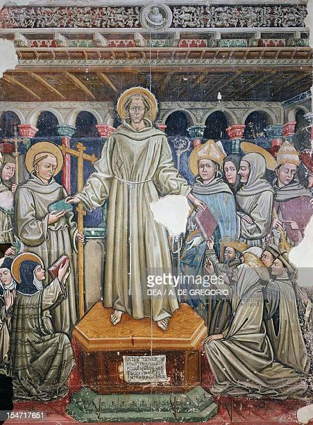 Saint Francis handing over the three Rules fresco presbitery of the Church of the Chinisa Bitonto Apulia Italy 14th century
