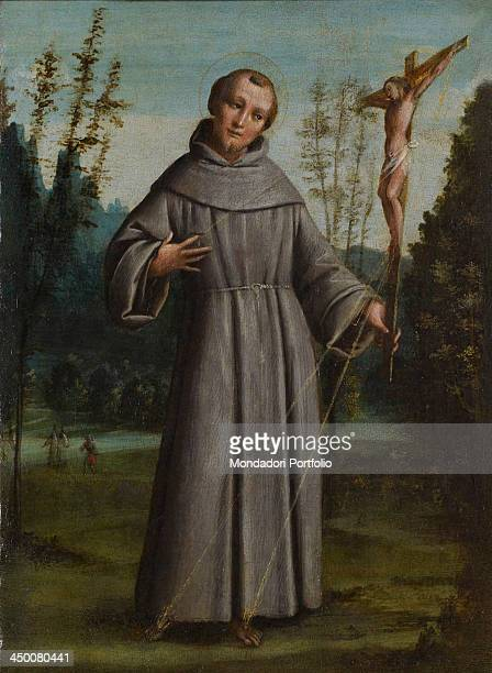 Saint Francis of Assisi by Bernardino Lanino 16th Century from board to canvas 41 x 39 cm