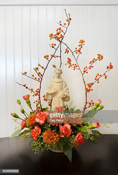 saint francis of assisi floral arrangement - bittersweet berry stock photos and pictures