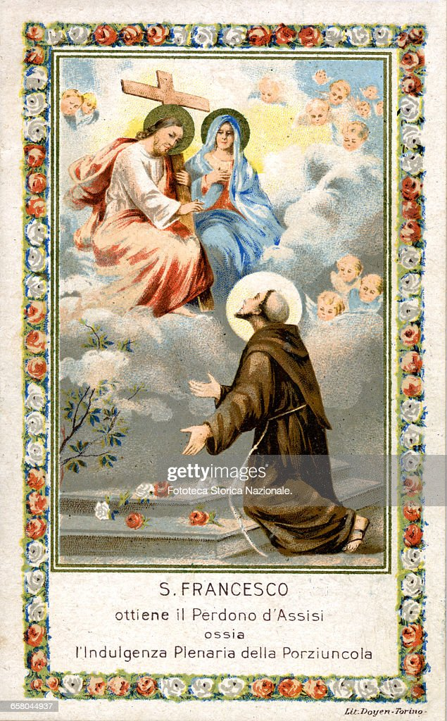 Saint Francis of Assisi (1181-1226) on August the 2nd, 1216, gets the forgiveness of Assisi that is the plenary indulgence of the Portiuncula. Devotional image, chromolithograph. Italy, Assisi (PG) approx. 1900. (Photo by Fototeca Gilardi/Getty Images).