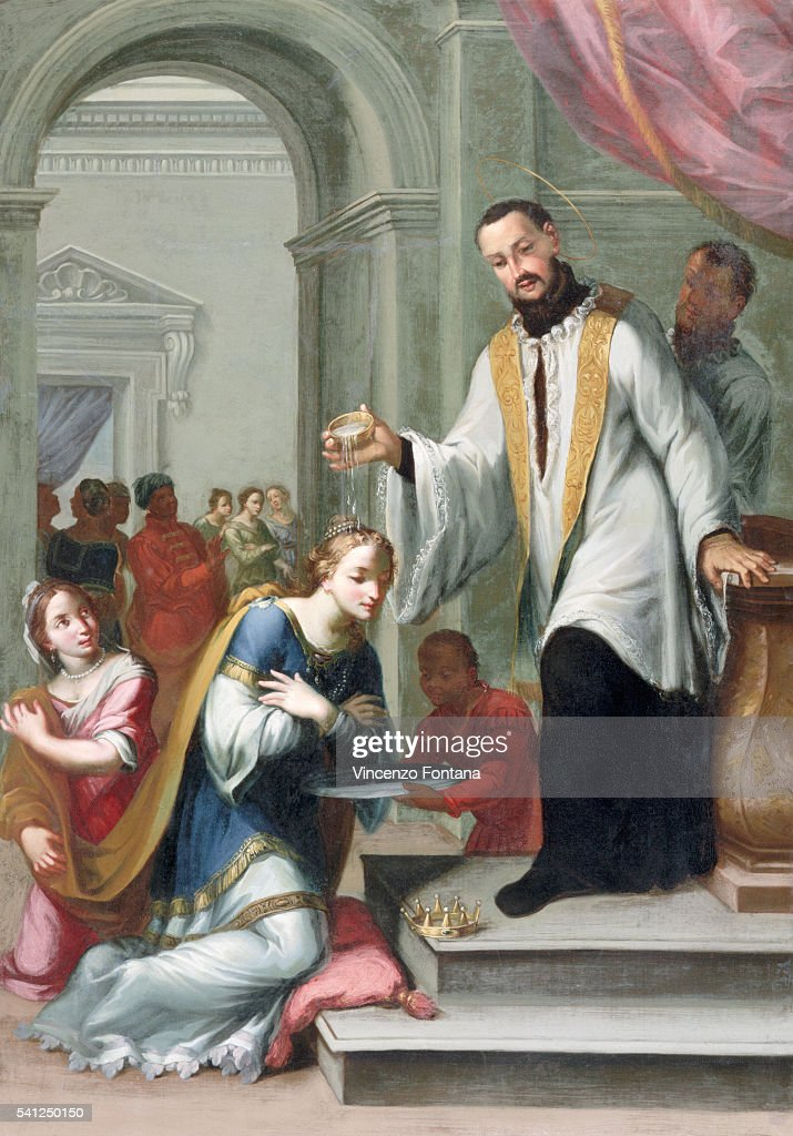 Saint Francis of Xavier in the Process of Baptising the Queen of Mexico by Giuseppe Laudati : News Photo