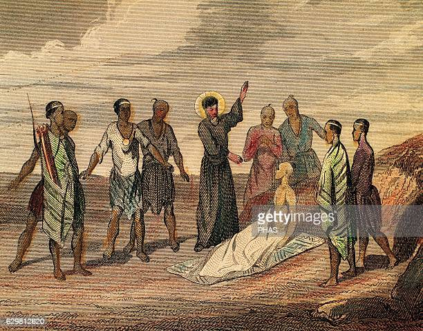 Saint Francis Xavier . Spanish missionary. The saint resurrect a dead buried in Colima, near Cape Comorin , 1544. French Engraving, 1850.