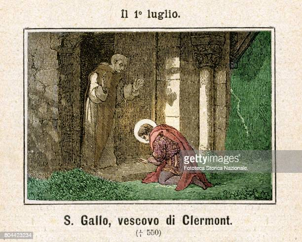 Saint Gall, Gallen, or Gallus bishop of Clermont. Colored engraving from Diodore Rahoult, Italy 1886.