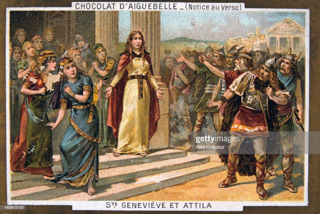 Saint Genevieve and Attila, c451 AD, (19th century). : News Photo
