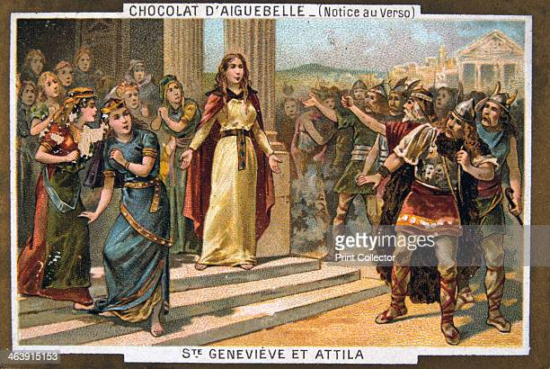 Saint Genevieve and Attila c451 AD St Genevieve the patron saint of Paris prevents Attila the Hun from attacking the city Card from a series produced...