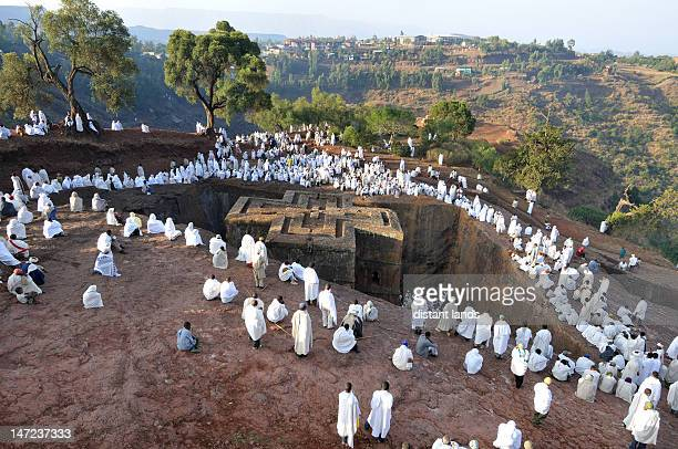 saint george feast at lalibela - lalibela stock photos and pictures