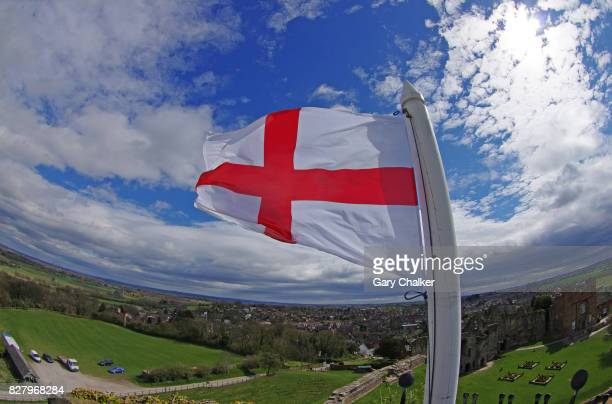 saint george's cross flag - flagpole sitting stock photos and pictures