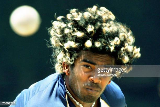 Saint George's GRENADA Sri Lankan cricketer Lasith Malinga delivers a ball during a practice session at the Grenada National Stadium in Saint...