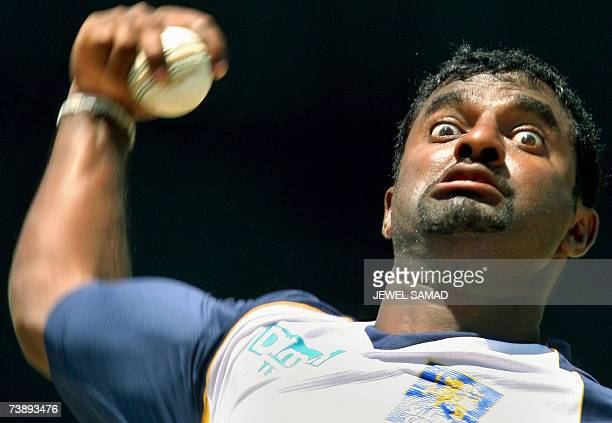Saint George's GRENADA Sri Lankan cricketer Muttiah Muralitharan delivers a ball during a practice session at the Grenada National Stadium in Saint...