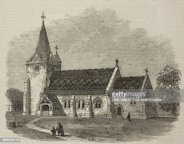 Saint Giles' Church Dallington Sussex United Kingdom illustration from the magazine The Illustrated London News volume XLV November 26 1864