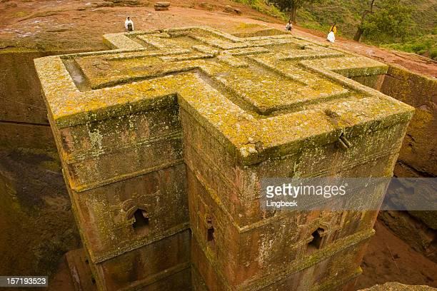 saint giorgis, lalibela, ethiopia - ethiopian orthodox church stock pictures, royalty-free photos & images