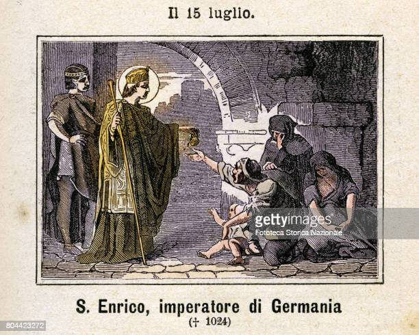 Saint Heinrich Emperor of Germany . Colored engraving from Diodore Rahoult, Italy 1886.