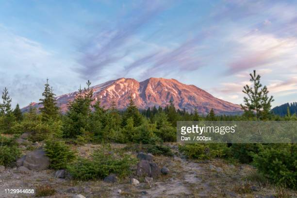 saint helens at sunrise - dan peak stock photos and pictures