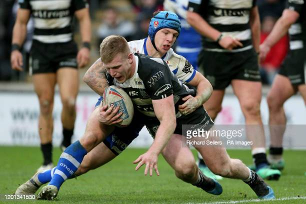 Saint Helens Theo Fages taclkles Hull Fc Brad Fash during the Betfred Super League match at the KCOM Stadium, Hull.