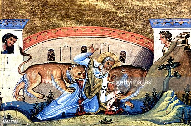 Saint Ignatius bishop of Antioch and roman martyr here in the lions' den illumination