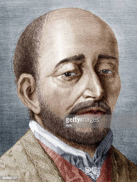 Saint Ignatius of Loyola founder of Jesuit order in 1540 engraving colorized document