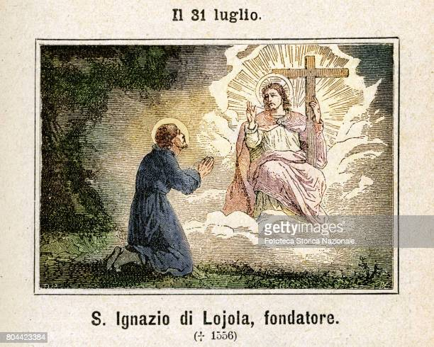 Saint Ignatius of Loyola founder of the Society of Jesus Colored engraving from Diodore Rahoult Italy 1886