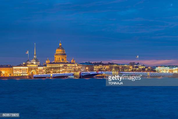 saint isaac's cathedral and admiralty building, saint petersburg - neva river stock photos and pictures