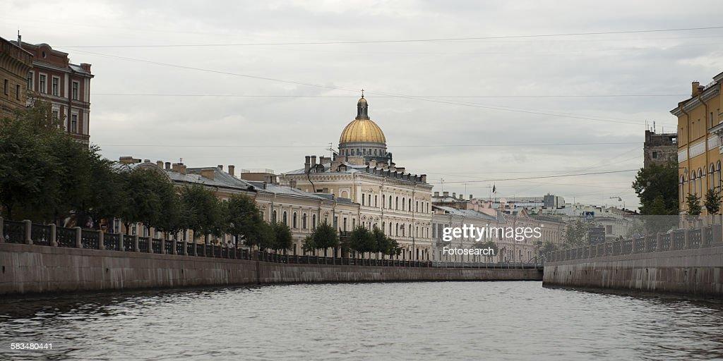 Saint Isaacs Cathedral at the riverfront : Stock Photo