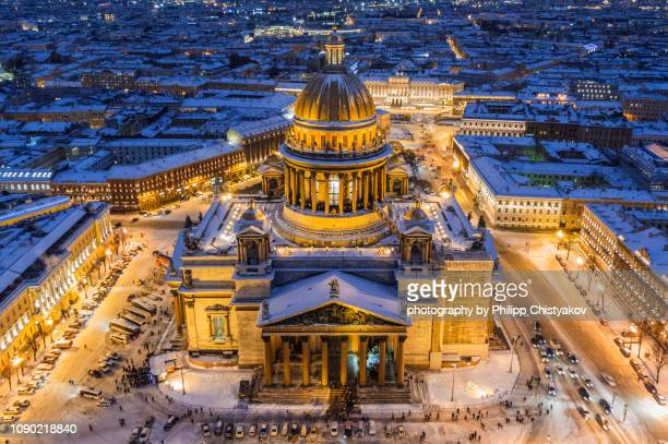 saint isaac's cathedral winter view from air - st. petersburg russia stock pictures, royalty-free photos & images