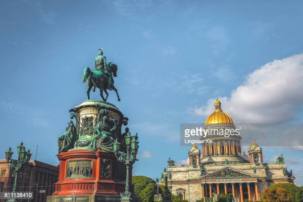 Saint Isaac's Cathedral with the Nicholas I monument, St. Petersburg, Russia