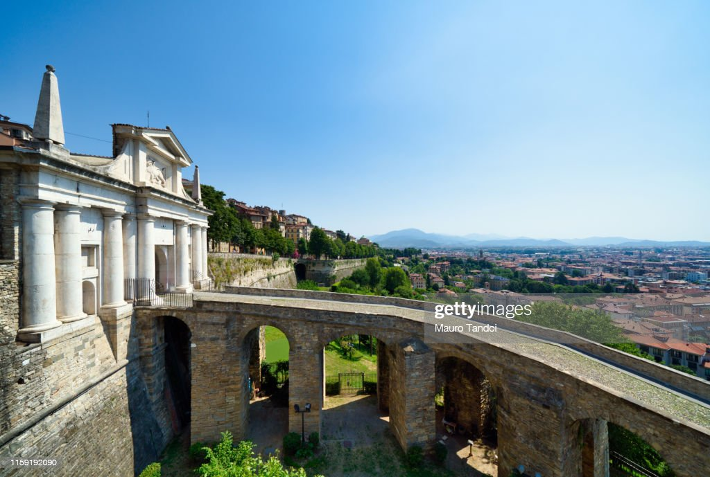 "Saint James Door ""Porta San Giacomo"", Bergamo, Italy : Stock Photo"