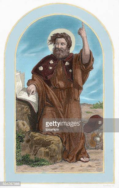 Saint James the Great Apostle and martyr Colored engraving 19th century