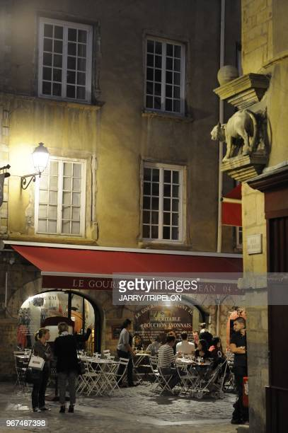 Saint Jean district at night terrace of restaurant Lyon Rhone 69 department RhoneAlpes region France