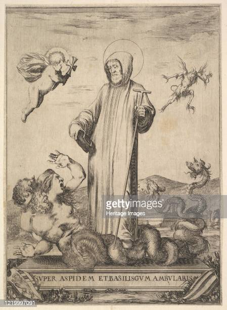 Saint Jean Gualbert trampling a monster with two human heads and a serpentine body a flying demon in background to right an angel with a cross flying...