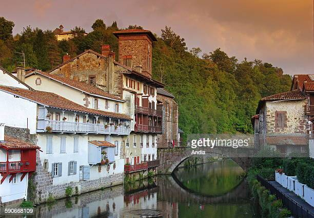Saint Jean Pied de Port Heart of the village and its bridge stretching across the Nive river