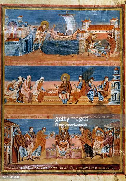 Saint Jerome leaving Rome for Jerusalem after paying his Hebrew teacher for language lessons working with his scribes and distributing copies of the...