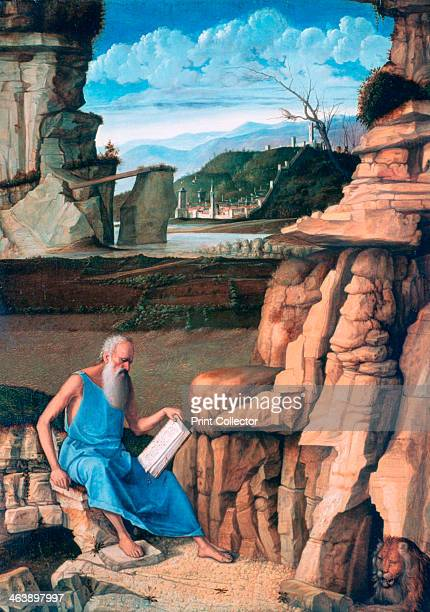 'Saint Jerome reading in a Landscape' c14801485 From the collection of the National Gallery London