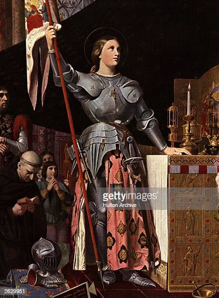 Saint Joan of Arc known as 'the Maid of Orleans' at Reims Cathedral for the coronation of the dauphin as King Charles VII circa 1429 accompanied by...