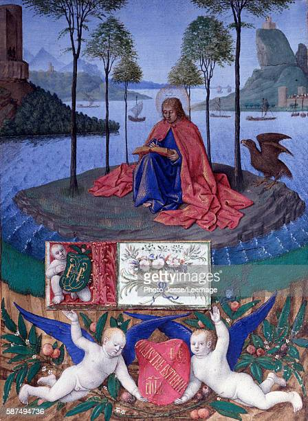 Saint John on the island of Patmos Miniature from 'The Hours of Etienne Chevalier' by Jean Fouquet 1445 Conde Museum Chantilly Paris