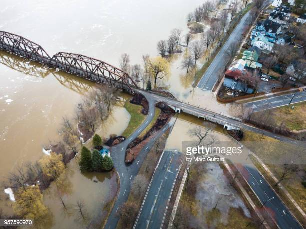 Saint John River flooding at the walking bridge in the spring of 2018 in Fredericton, New Brunswick, Canada
