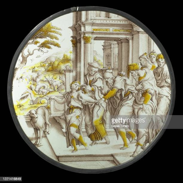 Saint John the Baptist Going out into the Wilderness The departure of John the Baptist to the desert, Round stained glass with representation of the...
