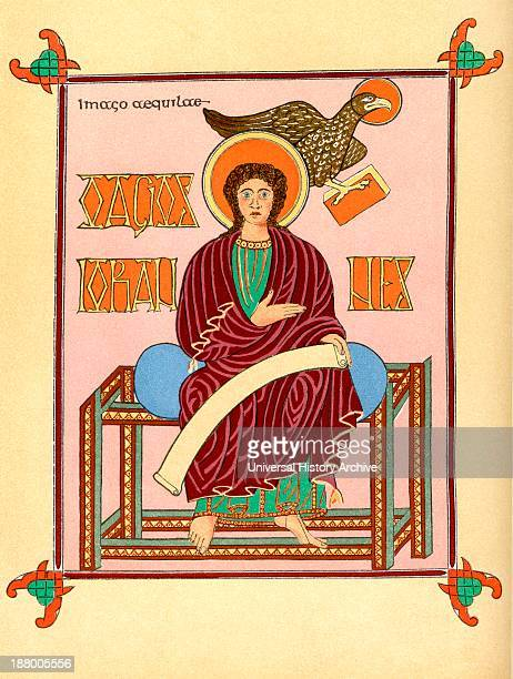 Saint John The Evangelist After The Lindisarne Gospel C 700 From The Book Short History Of The English People By JR Green Published London 1893
