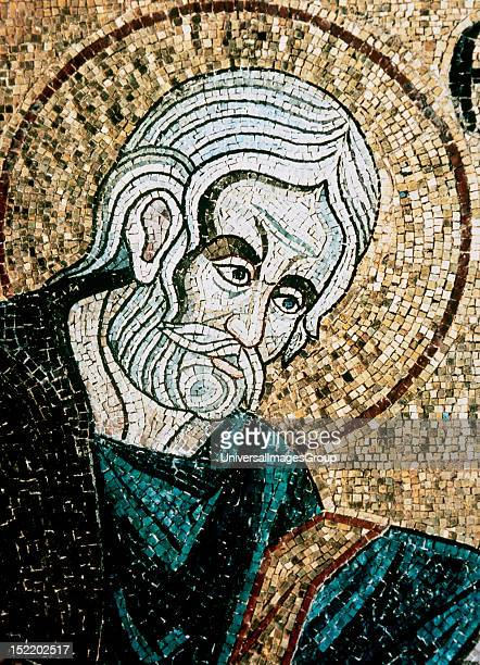 ART Saint John the Evangelist Mosaic in the Baptistery of St Mark's Basilica dating between XIIXIV centuries Venice Italy