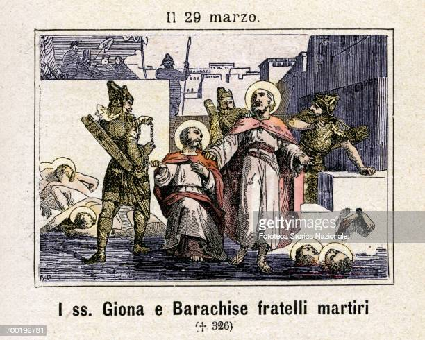 Saint Jonah of Hubaham, martyr with his brother Barachise in Persia in 327; commemoration on 29 March. Colored engraving from Diodore Rahoult, Italy...